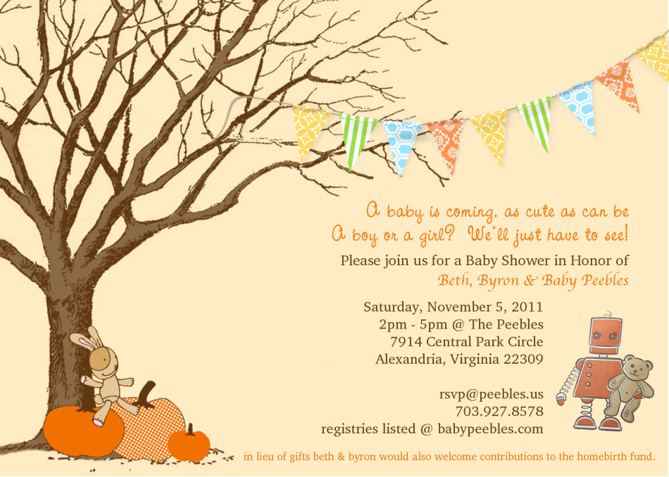 baby shower invitation fall autumn Flags! Leaves on ground would be ...
